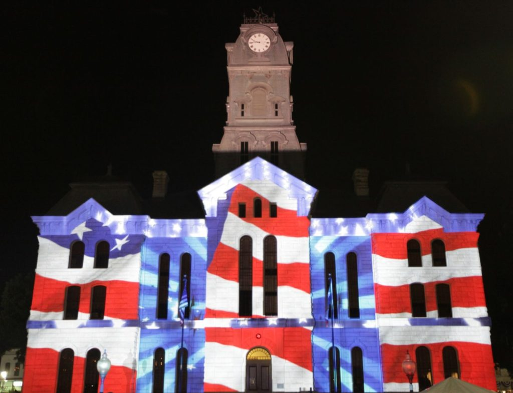 Projection mapping on a building facade by Showtech Production in Dallas, TX