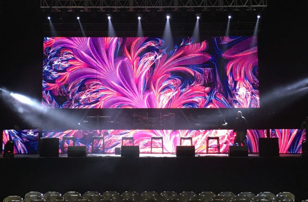 Here's a projection mapping/video mapping swirl design by Showtech Productions.