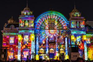 3-d projection mapping at the festival of lights in Osaka