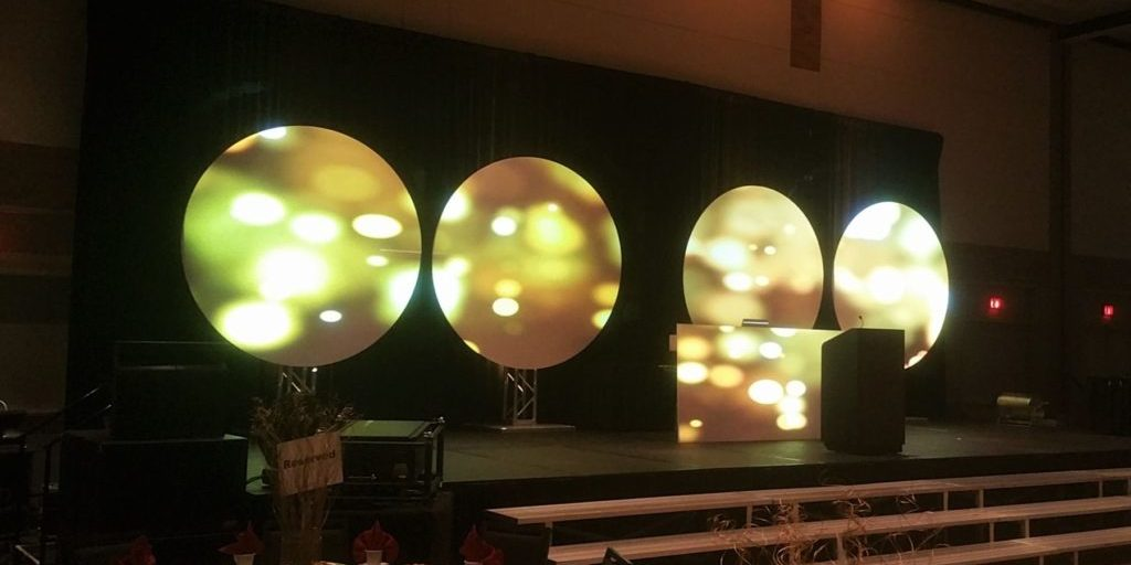 These circle screens were set up for video production and projection mapping in Dallas, TX.